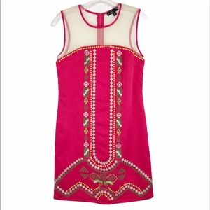 C. Luce Embroidered Sleeveless Pink Shift Dress S